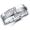 14K White Gold Ladies Designer Diamond Wedding Band