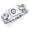 Diamond 14K White Gold Link Design Wedding Band