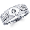 14K White Gold Diamond Bezel Set Wedding Ring