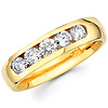 14K Yellow Gold Five Stone Round Diamond Channel Set Band