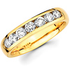Seven Diamond 14K Yellow Gold Round Channel Set Wedding Ring