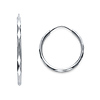 Faceted Endless Small Hoop Earrings - 14K White Gold 1.5mm x 0.67 inch