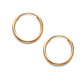 Thin Polished Endless Mini Hoop Earrings - 14K Yellow Gold 0.4 inch