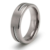 6.5mm Titanium Cable Inlay Wedding Ring