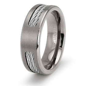 7mm Double Cable Inlay Titanium Wedding Band
