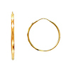 Faceted Endless Medium Hoop Earrings - 14K Yellow Gold 1.5mm x 1 inch