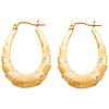 14K Yellow Gold Brushed Ribbon Crescent Hoop Earrings - Medium