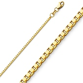 1.3mm 14K Yellow Gold Box Chain Necklace 16-24in