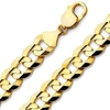Men's 14mm 14K Yellow Gold Concave Curb Cuban Link Chain Necklace 24-26in