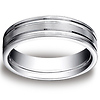 6mm Flat Striped Comfort Fit 14K White Gold Benchmark Wedding Ring