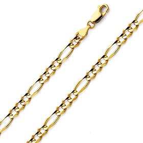 90bc17c988c8 4mm 14K Yellow Gold Figaro Link Chain Necklace 18-24in