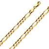 6mm 18K Yellow Gold Men's Figaro Link Chain Necklace 18-30in