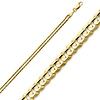 3mm 14K Yellow Gold Concave Curb Cuban Link Chain Necklace 16-24in