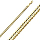 3mm 14K Yellow Gold Concave Curb Cuban Link Chain Necklace 16-24in thumb 0