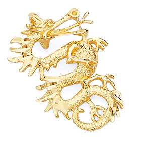 Chinese Dragon Pendant in 14K Yellow Gold - Small