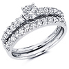 14K White Gold Round Diamond Engagement Ring Set