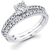 14K White Gold Diamond Bridal Ring Set 0.69 ctw