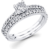 Matching 14K White Gold Diamond  Engagement Ring Set 0.84 ctw