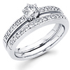 14K White Gold Diamond Wedding Ring Set 0.68 ctw