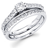 14K White Gold Matching Diamond Wedding Ring Set 0.77 ctw