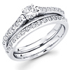 14K White Gold Round Diamond Wedding Ring Set 0.92 ctw