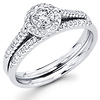 14K White Gold Diamond Halo Engagement Ring Set 0.46 ctw