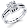 14K White Gold Halo Princess Cut Diamond Engagement Wedding Ring Set 0.32ctw