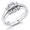 Sleek 14K White Gold Three Stone Diamond Engagement Ring Set 0.54 ctw