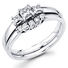 14K White Gold Three Stone Diamond Bridal Ring Set 0.45 ctw