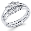 14K White Gold Three Stone Diamond  Bridal Ring Set 0.70 ctw