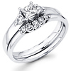 14K White Gold Princess Cut Diamond Engagement Ring Set 0.50 ctw
