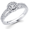 14K White Gold Split Shank Halo Round Cut Engagement Ring 0.80 ctw
