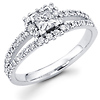 Split Shank 14K White Gold Diamond  Engagement Ring 0.75 ctw
