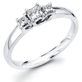 Three Stone Princess Diamond Trellis Engagement Ring (0.33 ctw)