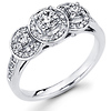 3 Stone Halo 14K White Gold Diamond Engagement Ring 0.63 ctw