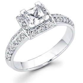 14K White Gold Knife-Edge Halo Princess Cut Diamond Engagement Ring & Pave Side Stones 0.67 ctw