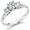 3 Stone 14K White Gold Round Diamond Engagement Ring 0.71 ctw