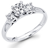 Sleek Three Stone 14K White Gold Diamond Engagement Ring 0.61 ctw