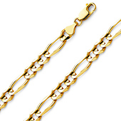 7mm 14K Yellow Gold Men's Figaro Link Chain Bracelet 8.5in