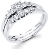 14K White Gold Round Cut Diamond Engagement Ring Set 0.48 ctw