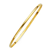 2mm High Polished Domed Solid 14K Yellow Gold Bangle Bracelet
