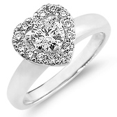 14K White Gold Heart Halo Round-Cut Diamond Engagement Ring 0.75 ctw