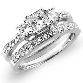 14K White Gold 3 Stone Princess Cut Diamond Engagement Ring Set 1.17ctw