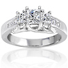 Elegant 3 Stone Princess Cut Diamond Engagement Ring 1.00 ctw