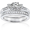 14K White Gold 3 Stone Diamond Wedding Ring Set