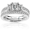 Stunning 14K White Gold Emerald Cut Engagement Ring Set 1.00 ctw