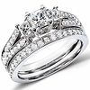 Chic 3 Stone Princess Cut Diamond Wedding Ring Set