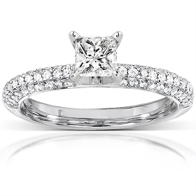 14K White Gold Micro Pave Princess Cut  Diamond Engagement Ring
