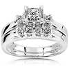 3-Stone Princess-Cut Diamond Engagement Ring Set in 14K White Gold 7/8 ctw