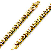 7mm Men's 14K Yellow Gold Miami Cuban Link Bracelet